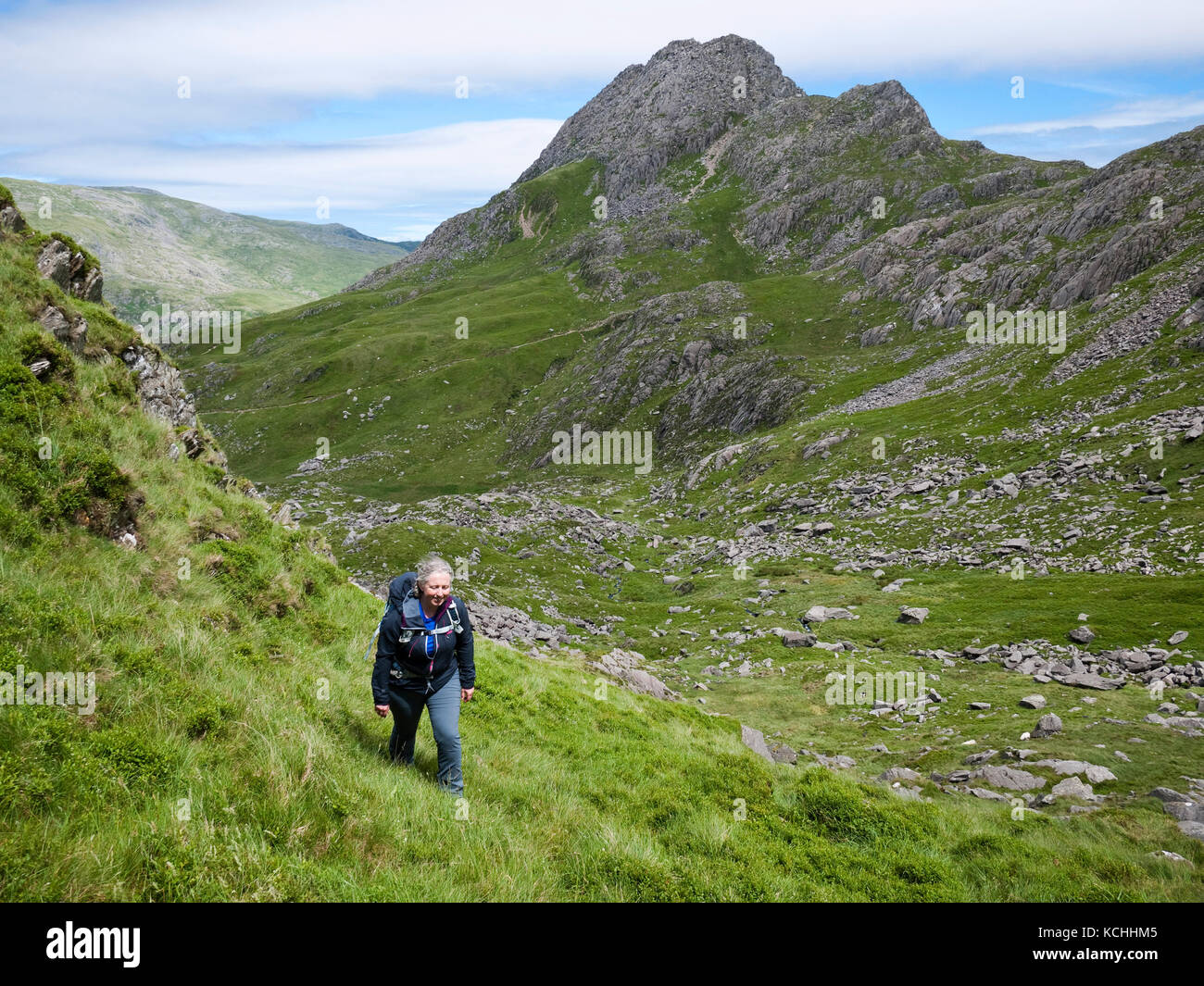 A female hill walker in upper Cwm Bochlwyd with a view to Tryfan, Ogwen valley, Snowdonia National Park - Stock Image