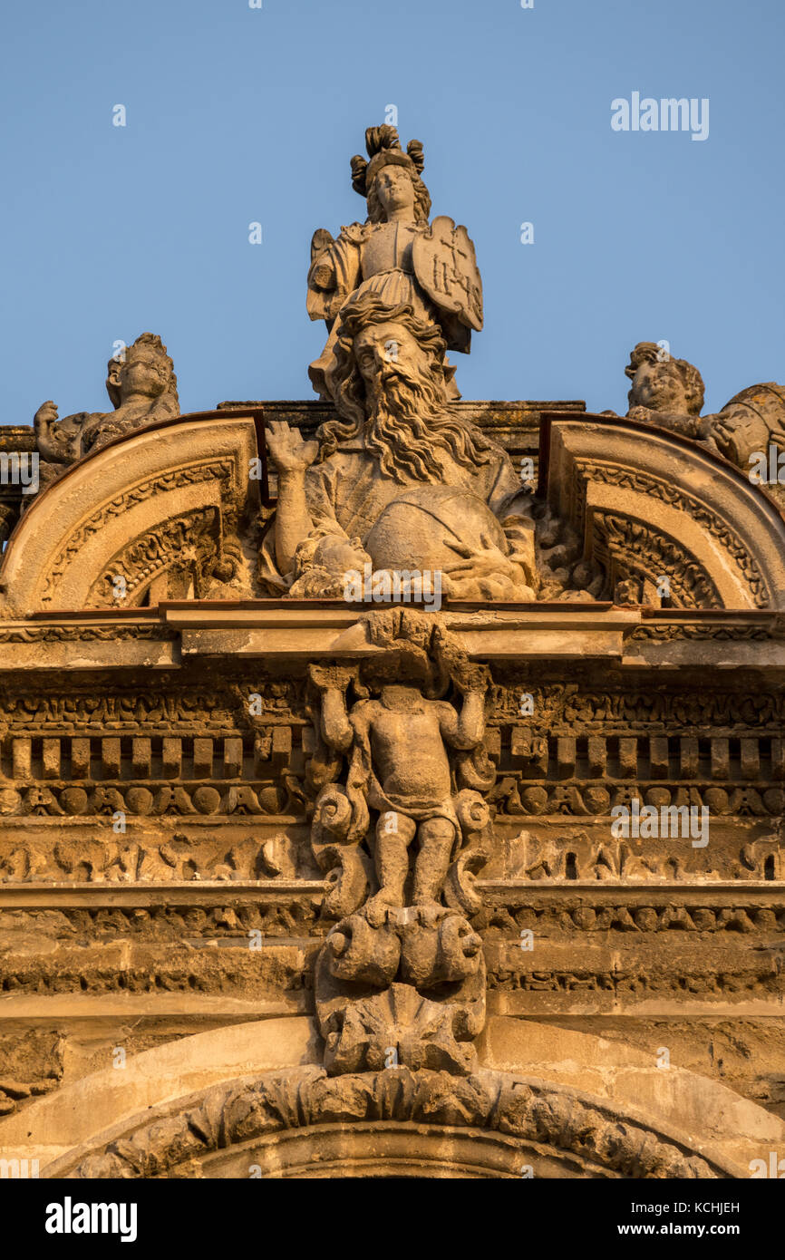 Decoration of Western facade of Cathedral of San Salvador in Jerez de la Frontera, Andalucia, Spain Stock Photo