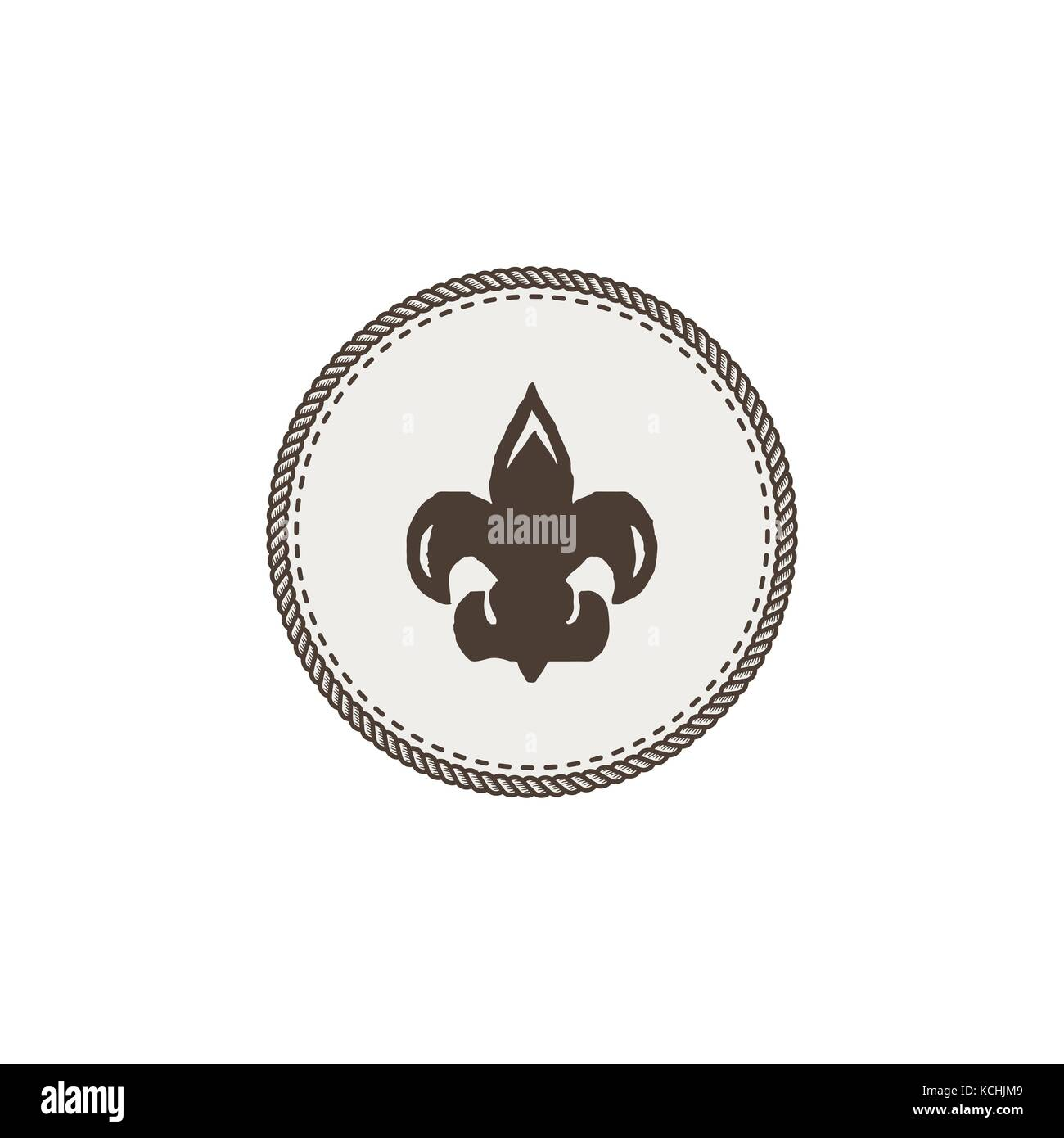 Scout symbol icon. Outdoor adventure retro design. Camping pictogram. Stock vector illustration isolated on white - Stock Vector