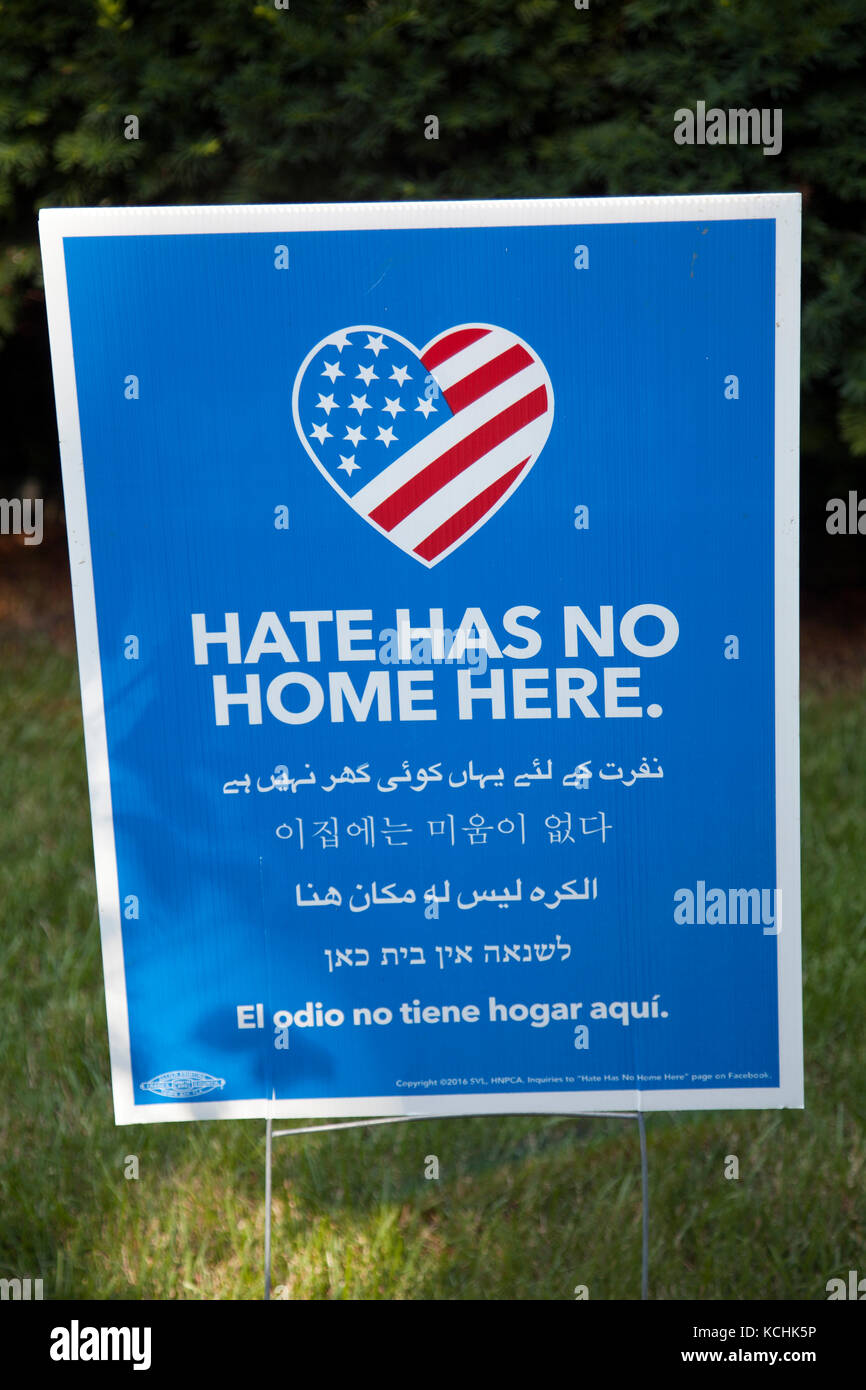 Hate Has no Home Sign in New Hope Pennsylvania in USA - Stock Image