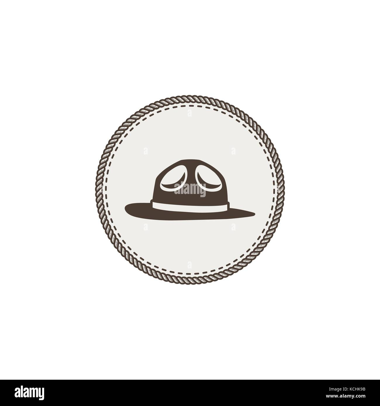 scout hat sticker, icon. Vintage hand drawn adventure patch design. Stock vector illustration isolated on white - Stock Vector
