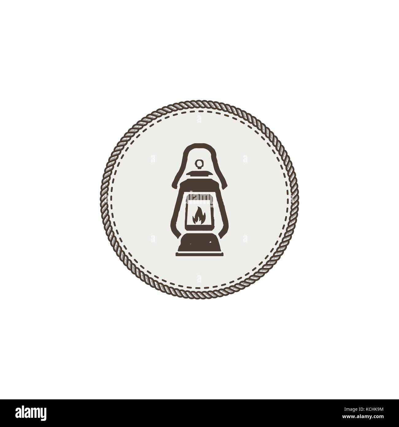 Vintage camping lantern patch isolated on white background. Retro gas lamp with glowing fire wick. Stock Vector - Stock Image