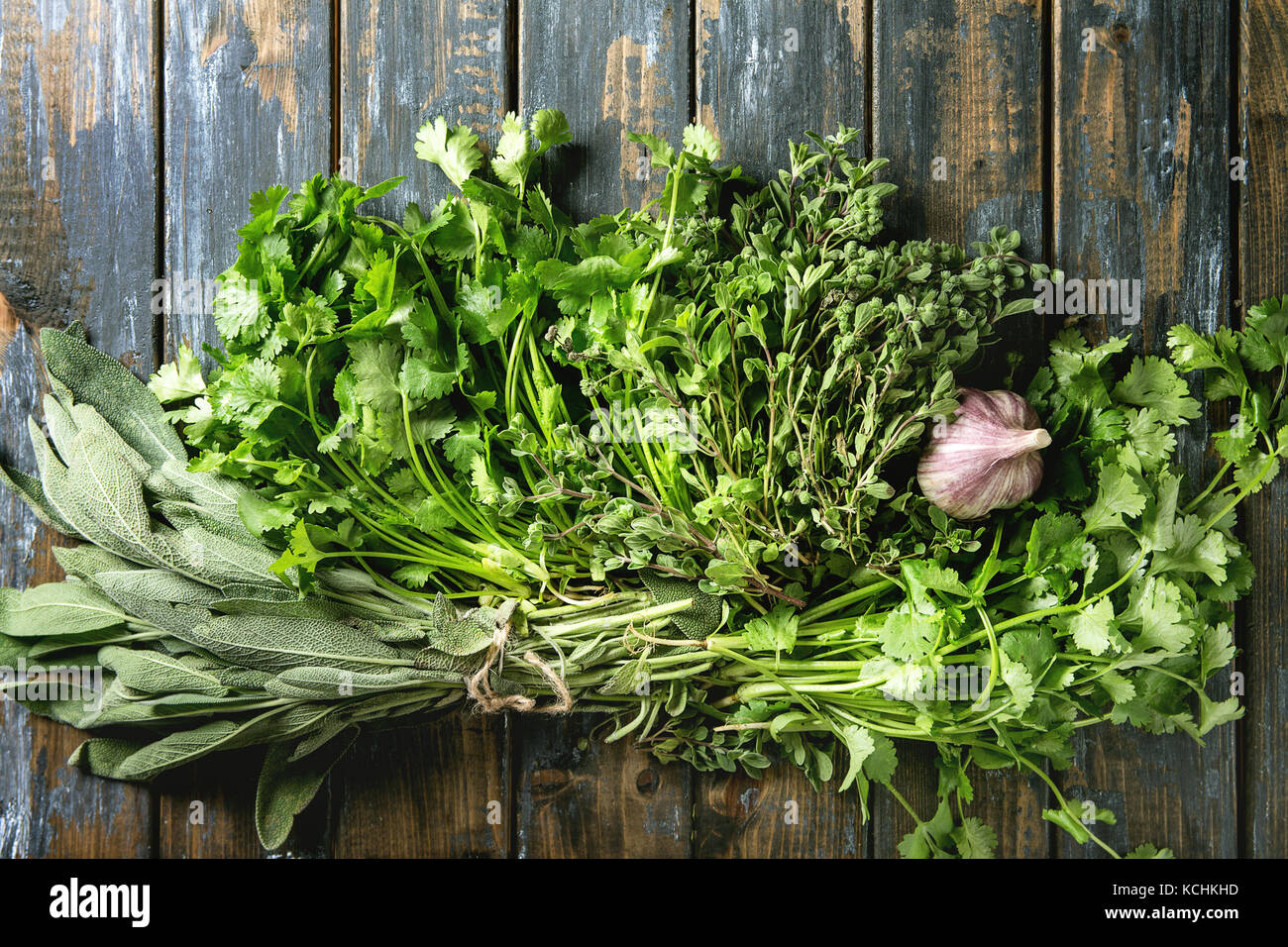 Variety of herbs - Stock Image