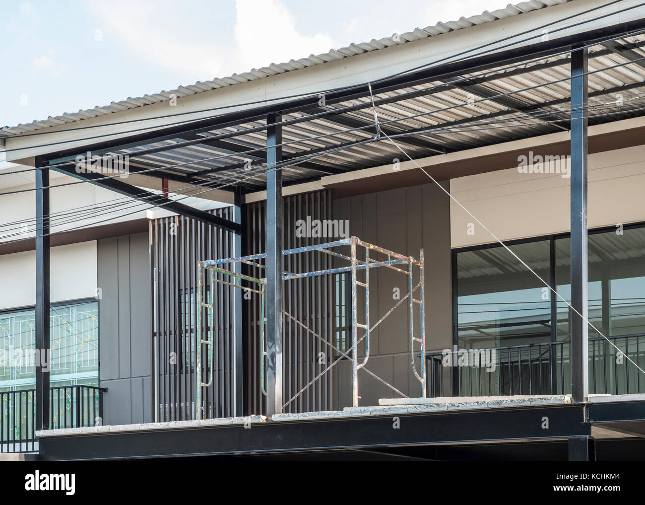 Small Metal Scaffolding On The Second Floor Of The Unfinished Modern Stock Photo Alamy