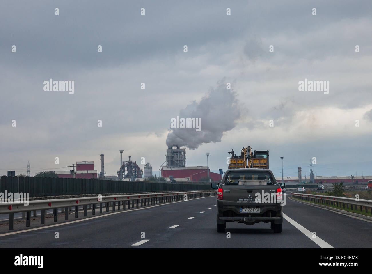 SEBES, ROMANIA - SEPTEMBER 23, 2017: Truck driving on a Romanian motorway near the road of Sebes, a highly polluting - Stock Image