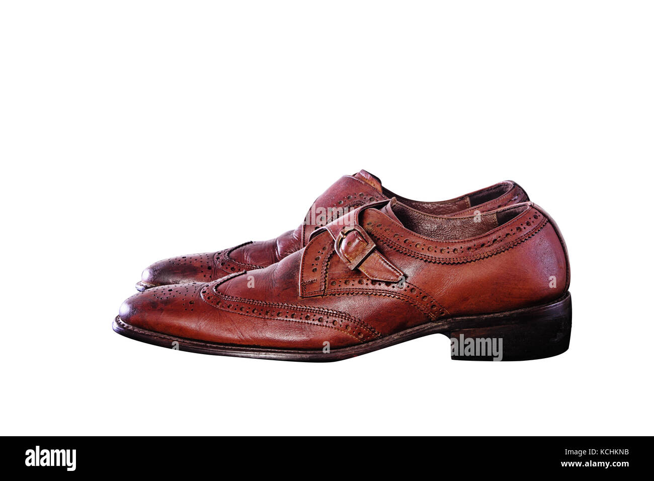 Closeup of Second hand Fashionable Male Classic Leather Shoes isolate on white background Stock Photo