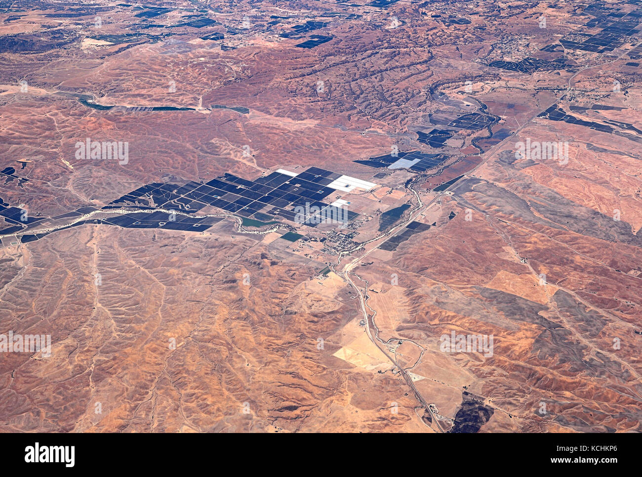 Aerial view of Agriculture in the Desert - Stock Image