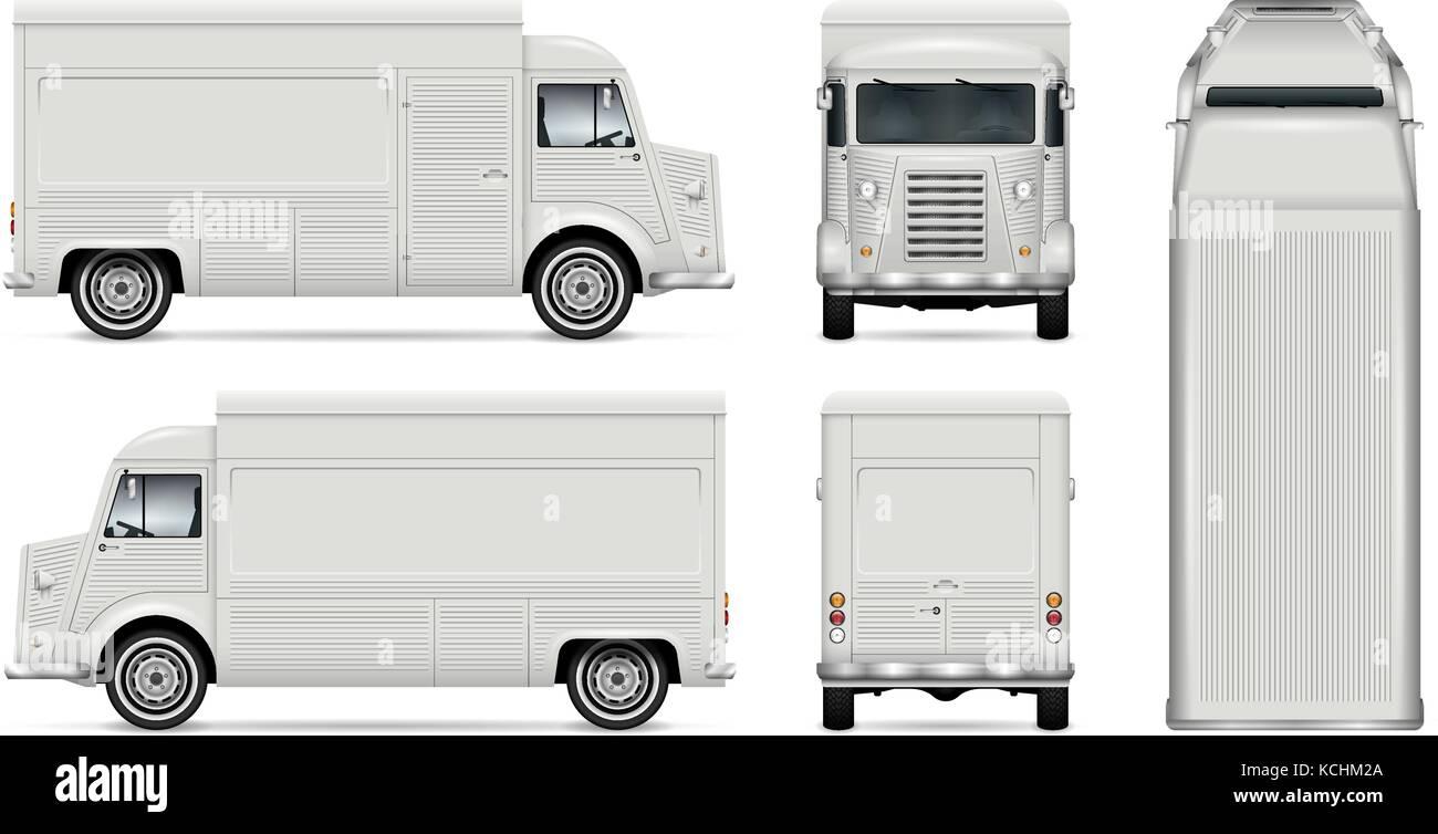Food Truck Vector Mock Up For Car Branding Advertising