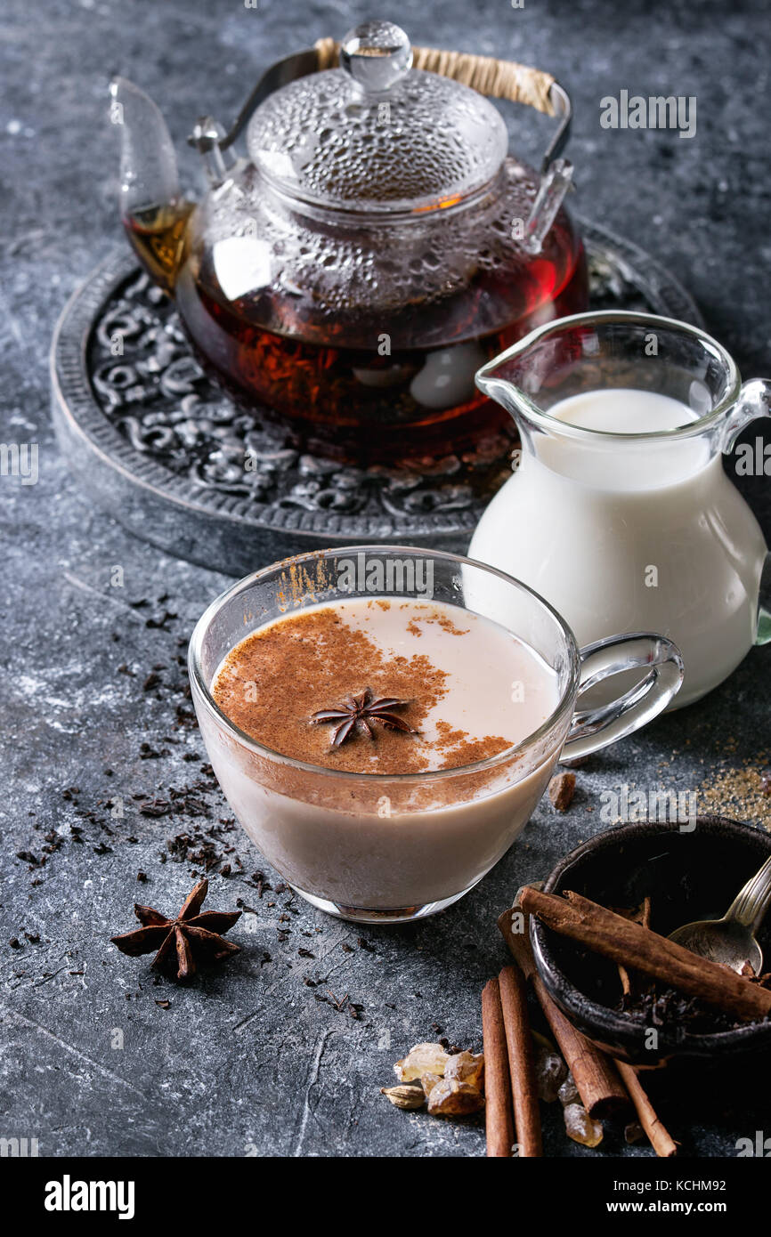 Masala chai with ingredients - Stock Photo