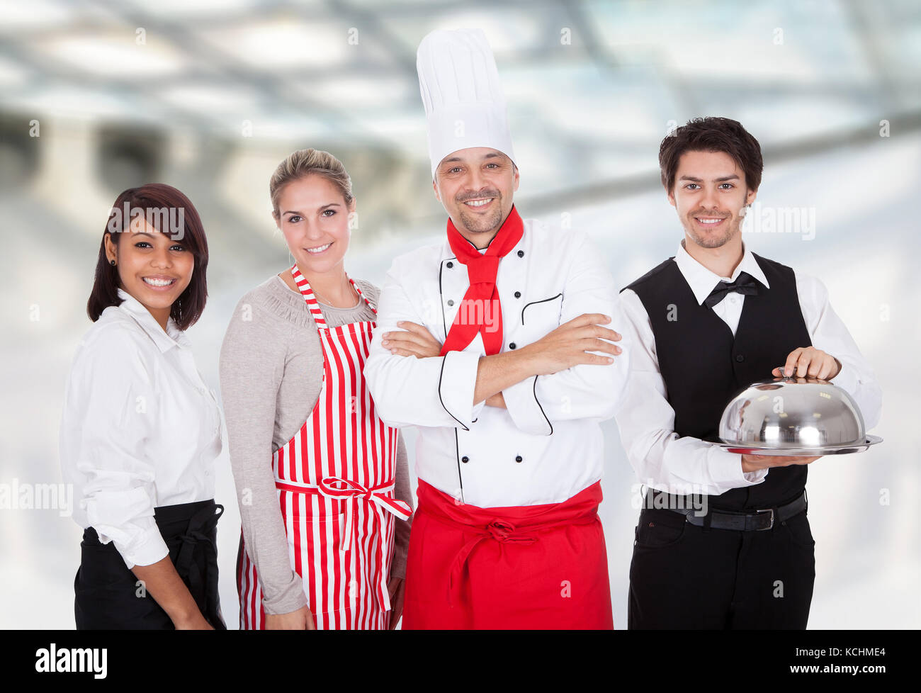 Group Of Happy Restaurant Chef And Waiters Standing Together Stock Photo Alamy