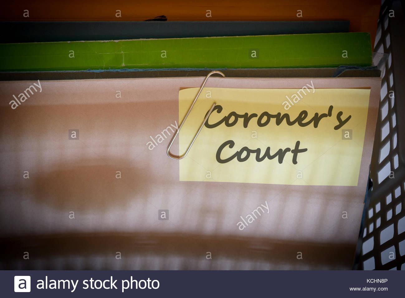 Coroner's Court written on document folder, Dorset, England. - Stock Image