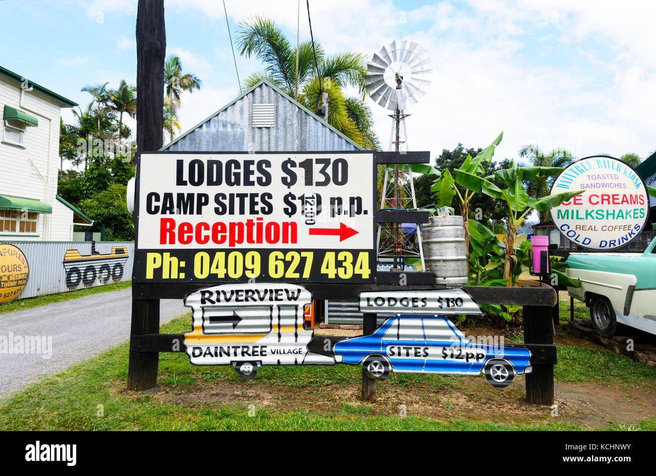 Sign for a campsite at Daintree Village, Far North Queensland, FNQ, QLD, Australia - Stock Image