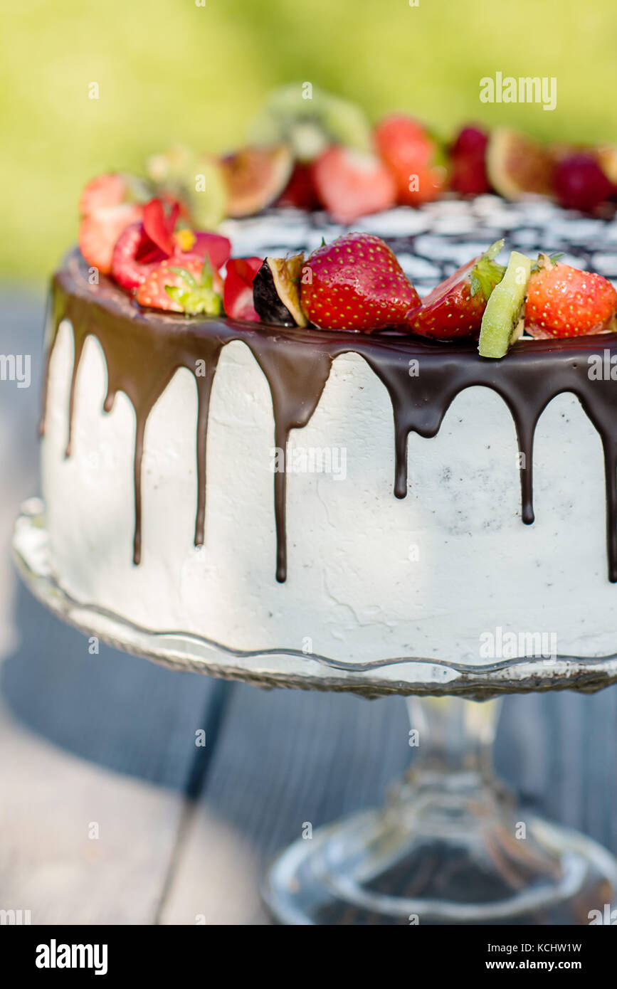 chite cream cake with chocolate and summer fruit - Stock Image
