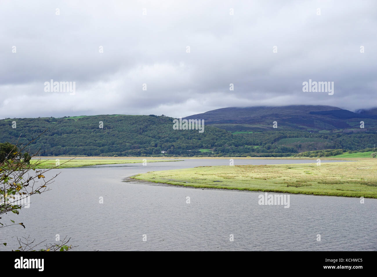 Looking over the Dyfi  estuary on a cloudy day, Wales, UK. Stock Photo