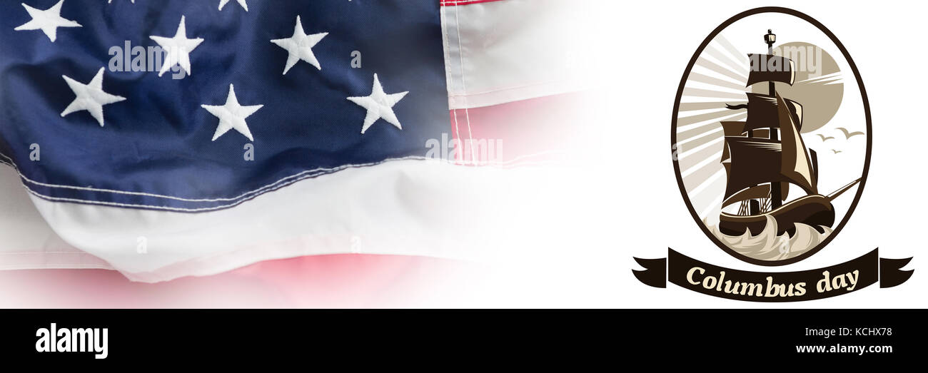Logo for event american event colombus day  against full frame of wrinkled american flag - Stock Image