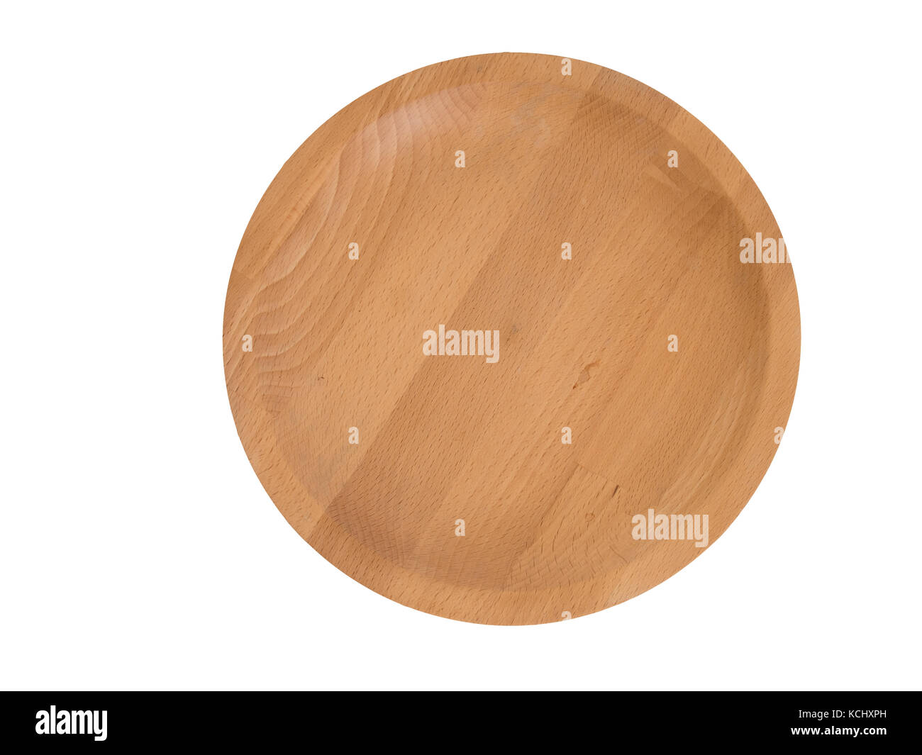 Hand crafted wooden tray, plate. Overhead view with great grain.Light colour wood. - Stock Image