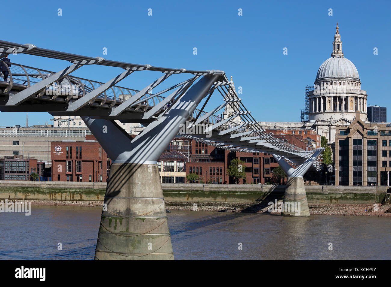 LONDON - SEPTEMBER 2017; Millennium Bridge with St. Paul's Cathedral on the background. - Stock Image