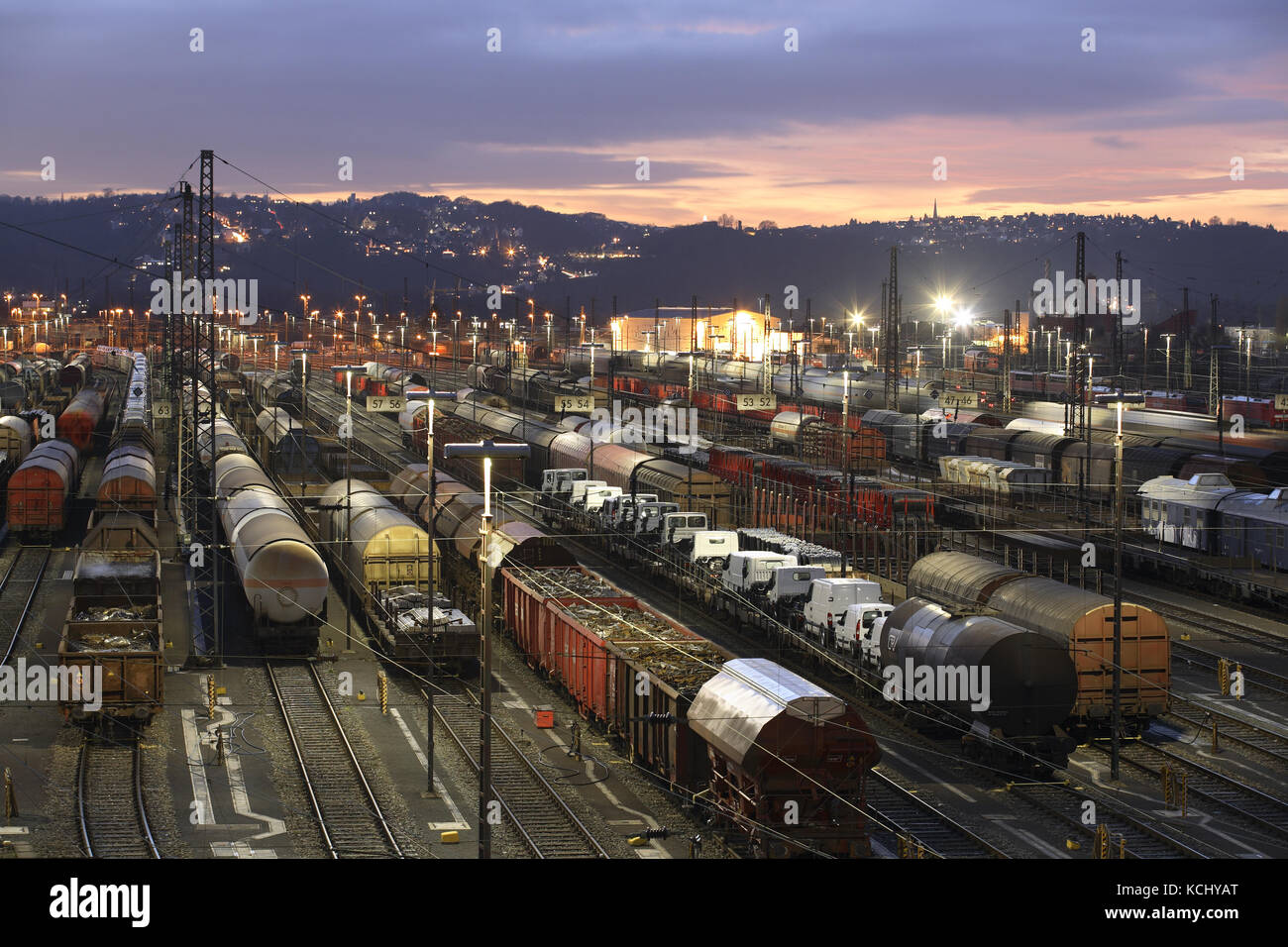 Germany, Ruhr Area, Hagen, railroad shunting yard in the district Vorhalle, freight trains.  Deutschland, Ruhrgebiet, - Stock Image