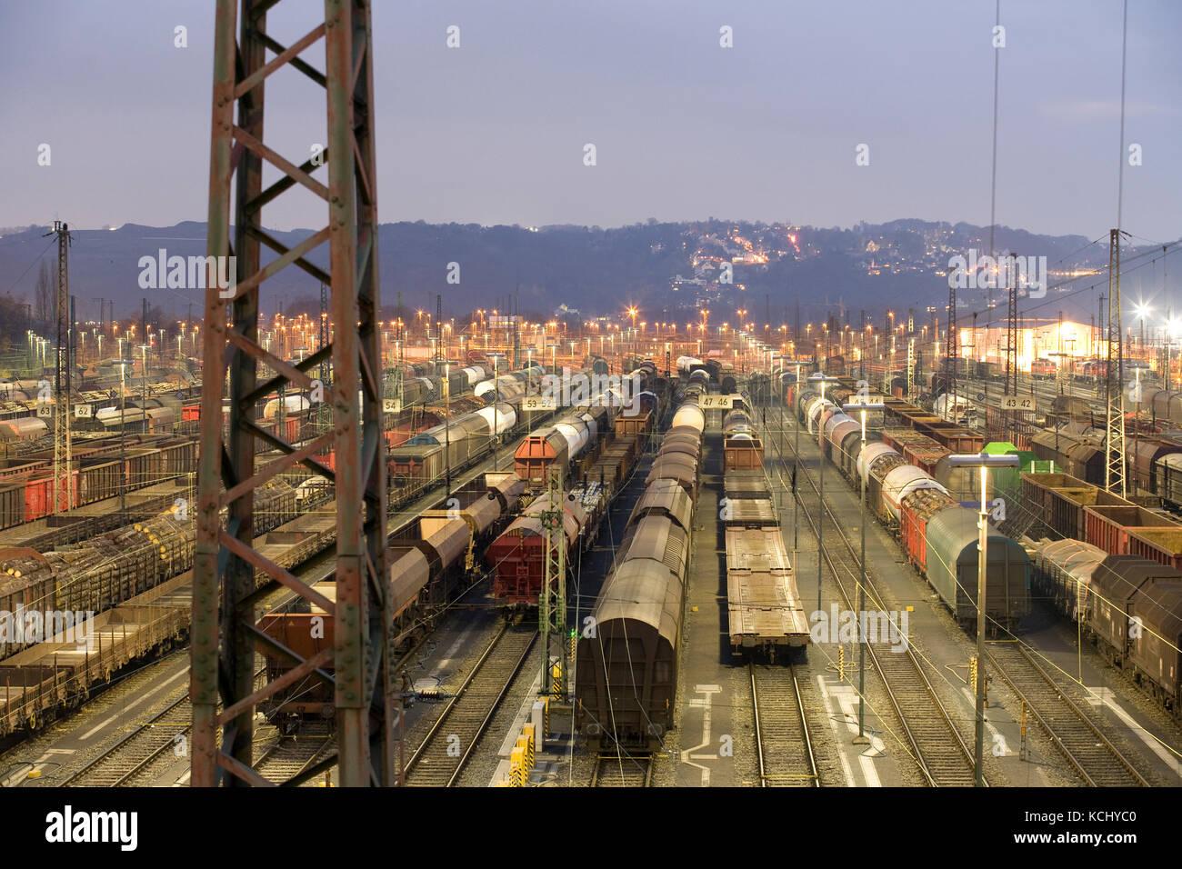 Germany, Ruhr Area, Hagen-Vorhalle, railroad shunting yard in the district Vorhalle, freight trains.  Deutschland, - Stock Image