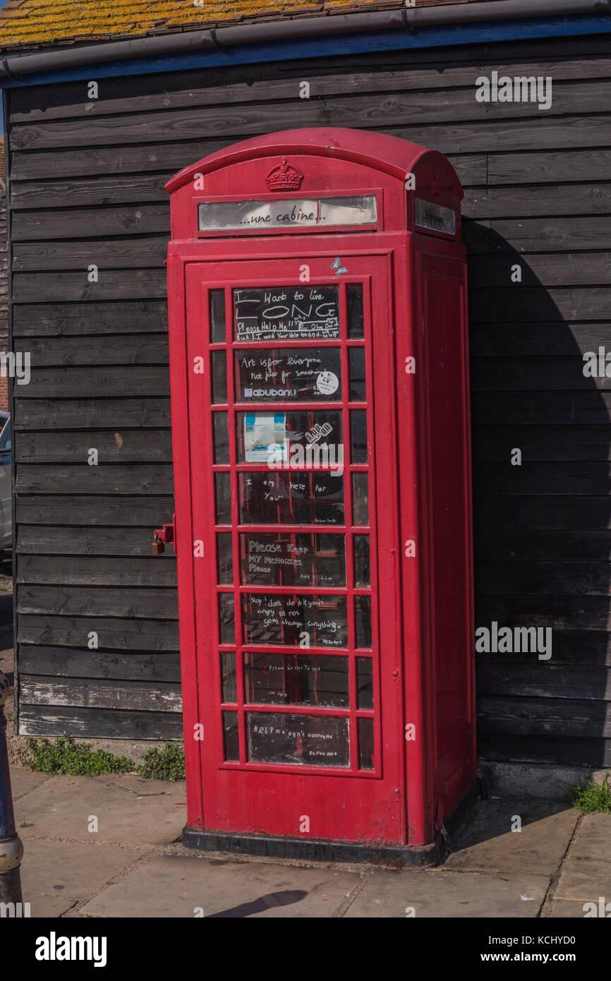 Shane Record's telephone kiosk Folkestone during the 2017 Folkestone Triennial - Stock Image