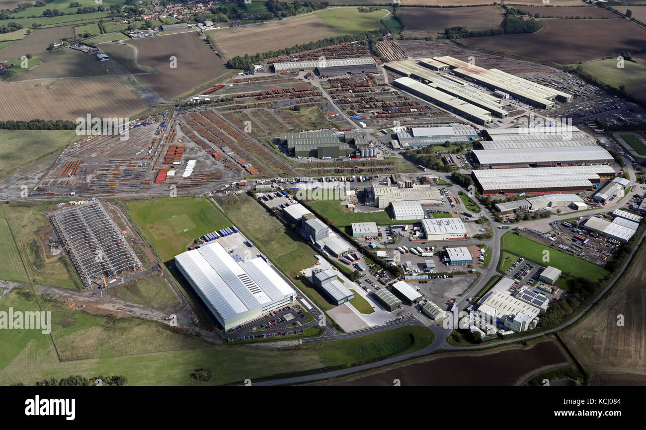 aerial view of Dalton Airfield, Thirsk, Yorkshire, UK Stock Photo
