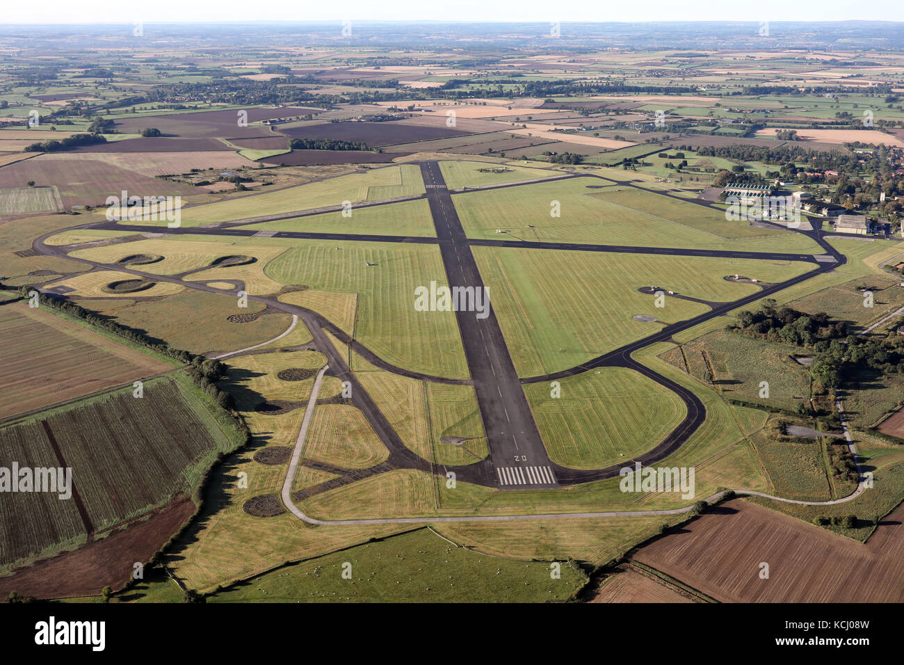 aerial view of a RAF Topcliffe Royal Air Force station near Thirsk in North Yorkshire, UK - Stock Image