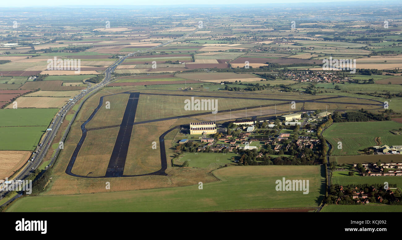 aerial view of RAF Dishforth disused RAF airbase, Yorkshire, UK - Stock Image