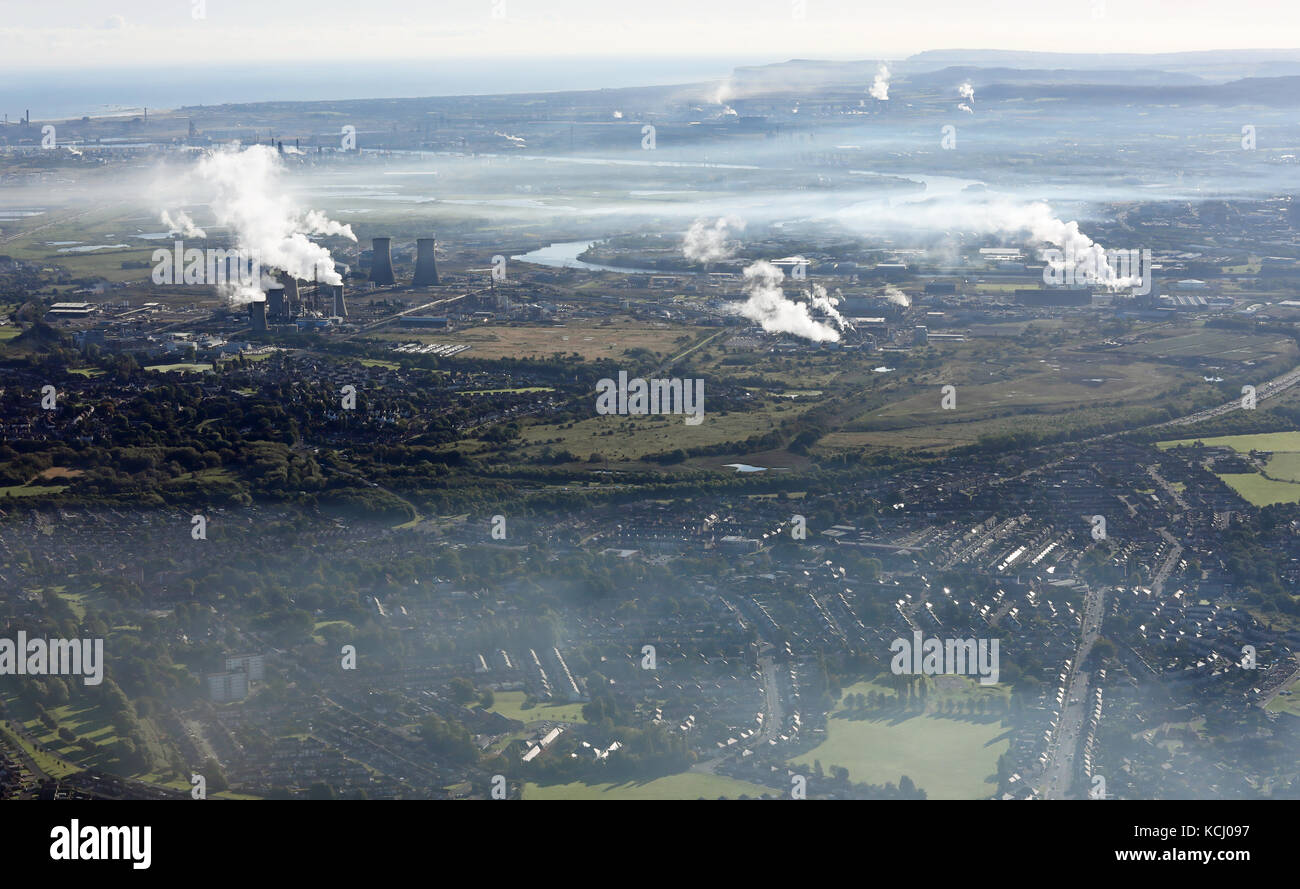 aerial view of a smokey Teesside industrial landscape, UK - Stock Image