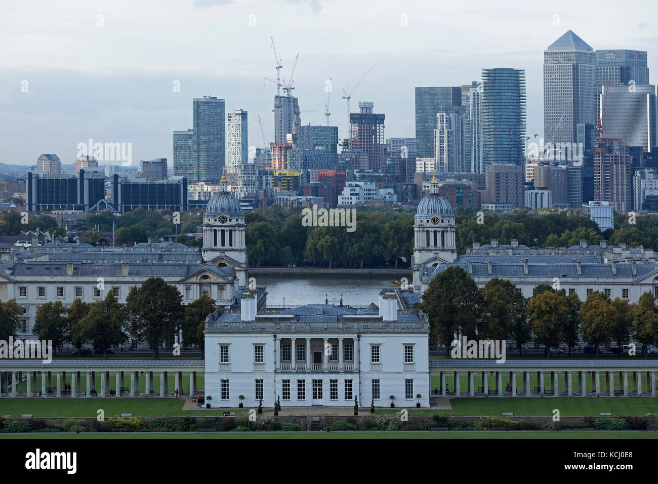 LONDON - SEPTEMBER 2017; View from Greenwich Park towards Canary Wharf. - Stock Image