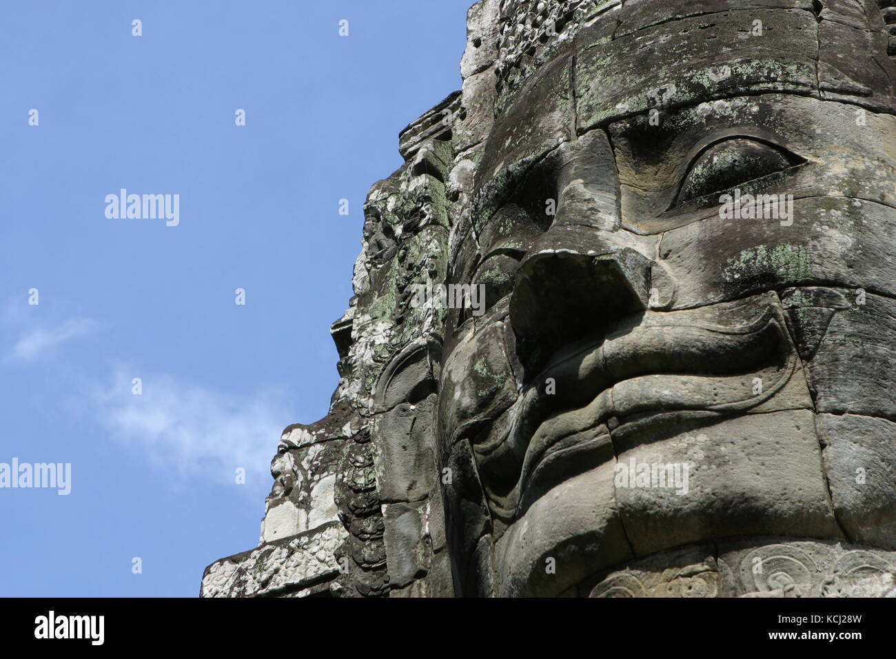 Stein Skulptur im Bayon Tempel - Stone sculpture in the Bayon temple - Stock Image