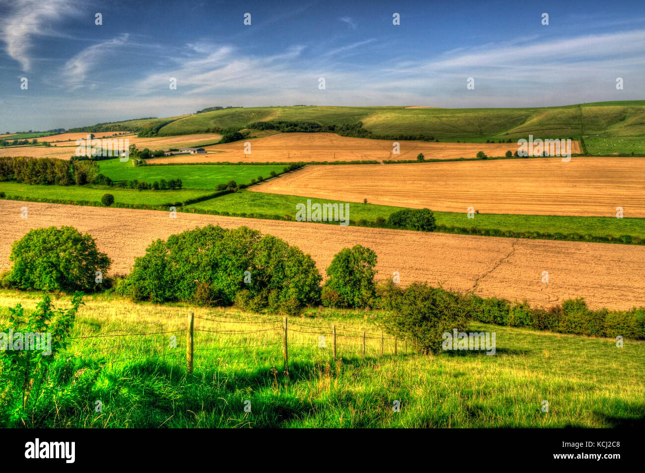 A patchwork of fields and hedgerows in the Wiltshire landscape, processed as an HDR image. - Stock Image
