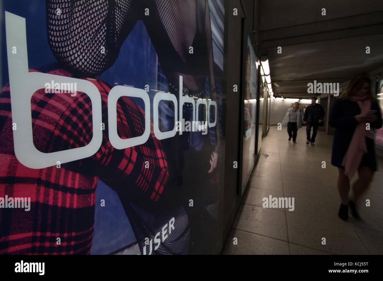 cc1eb7bf9a8 boohoo, boohoo.com fashion outlet advert on London station - Stock Image