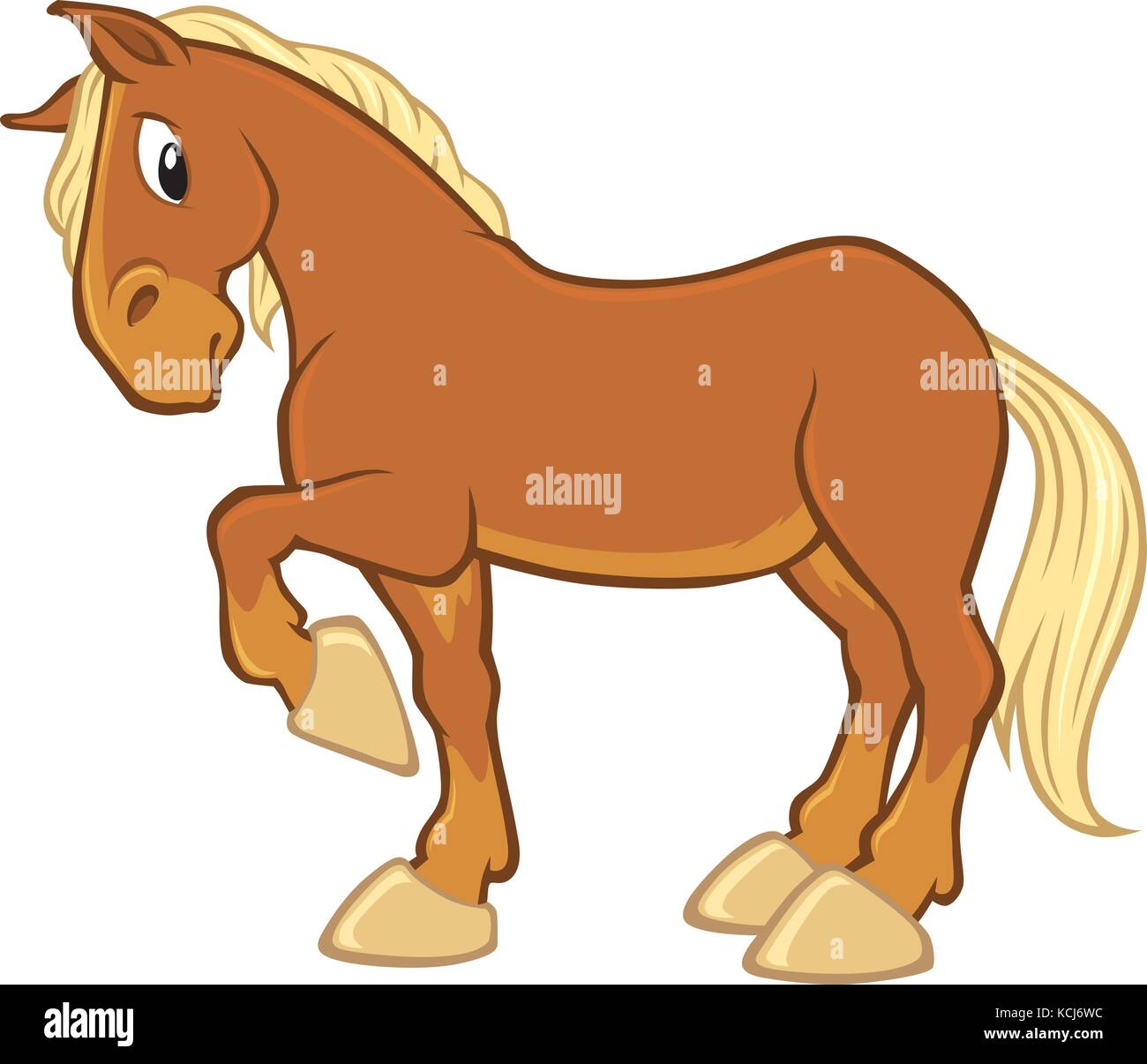 Vector cartoon of a brown horse with beige mane and tale - Stock Vector