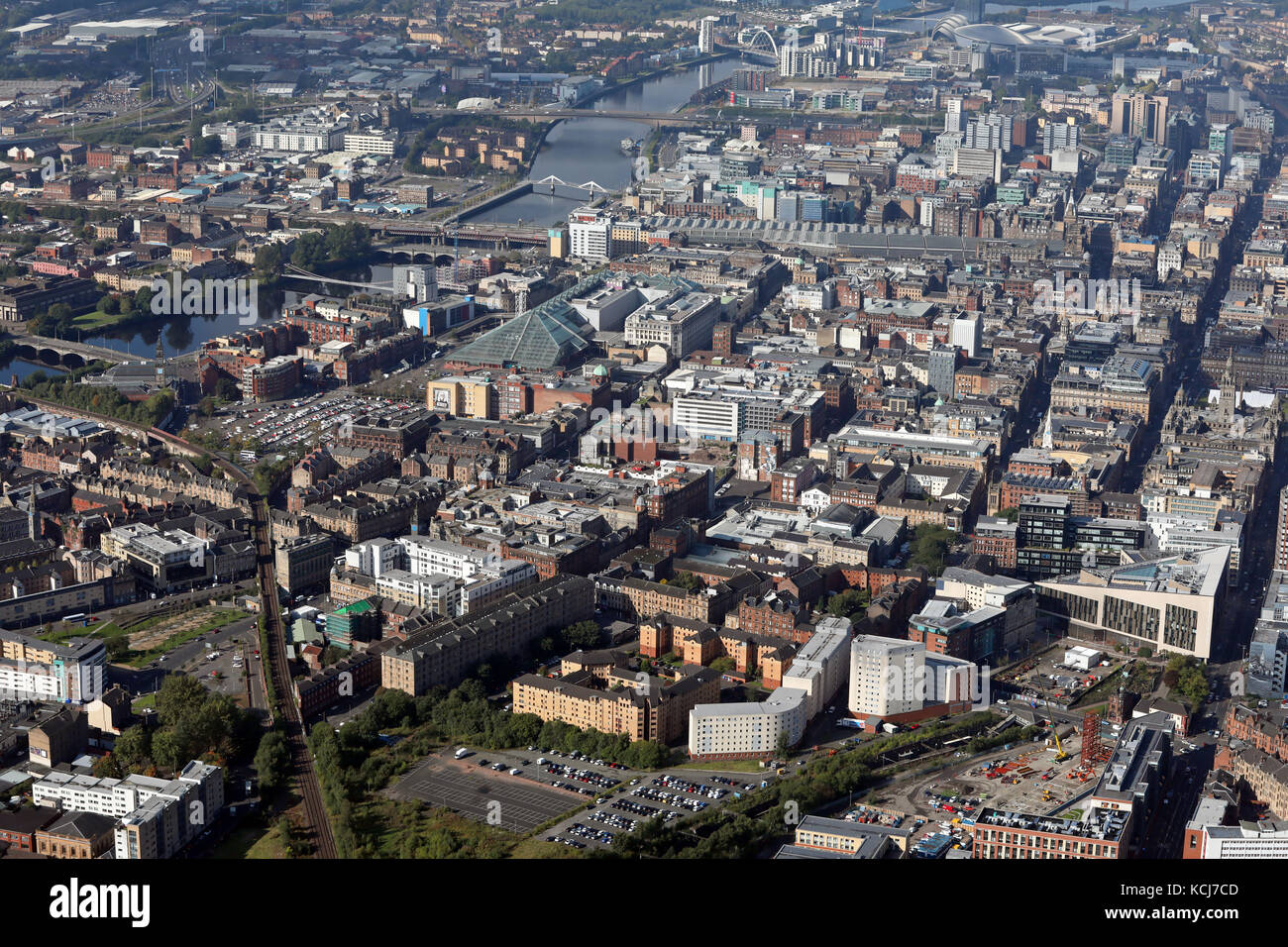 aerial view of the Glasgow city centre skyline towards the Station & St Enochs Shopping Centre, Scotland, UK - Stock Image