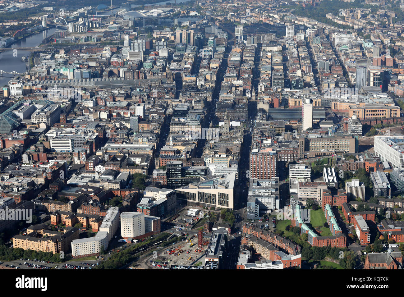 aerial view of the Glasgow city centre skyline looking down George Street, Scotland, UK - Stock Image