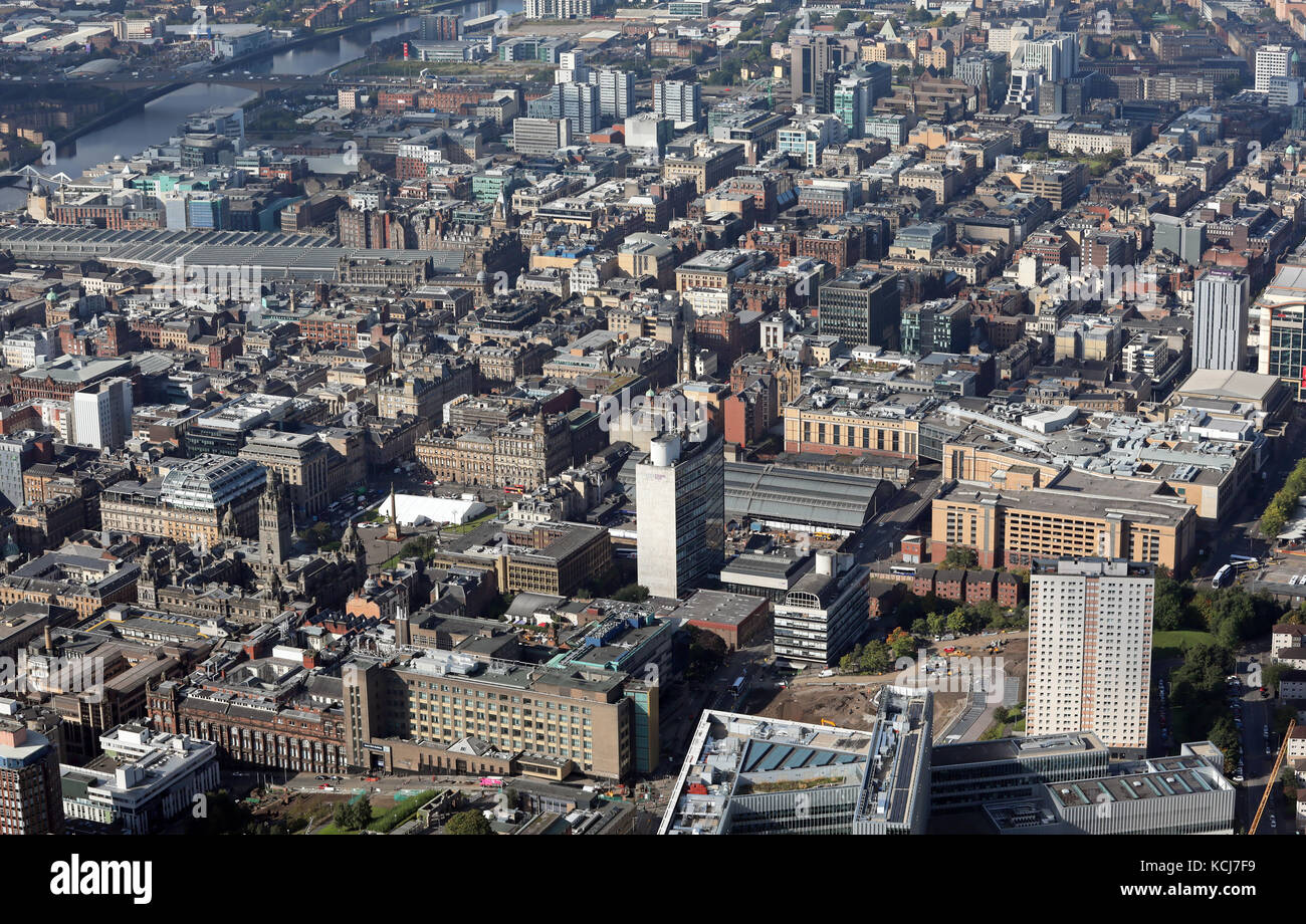 aerial view of Glasgow city centre, Scotland, UK - Stock Image