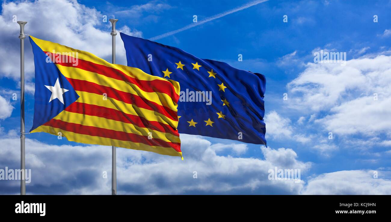Catalonia and European Union flags waving on blue sky background. 3d illustration - Stock Image