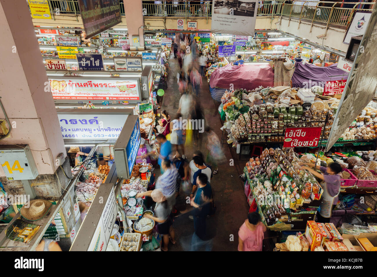 Chiang Mai, Thailand - August 27, 2016:  A group customers crowds near a food stall at the Warorot market on August - Stock Image