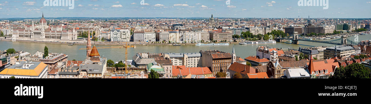 A 5 picture stitch panoramic aerial cityscape view of the Danube River in Budapest with the Chain Bridge on the Stock Photo