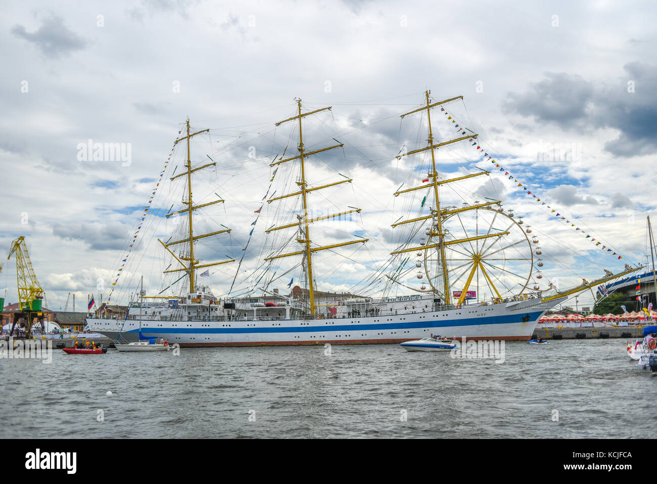 Szczecin, Poland, 5 august 2017: Ship at the quay during the finale of The Tall Ships Races 2017 in Szczecin. - Stock Image