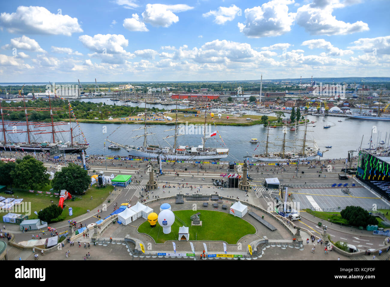 Szczecin, Poland, 7 august 2017: Panorama of the quay in Szczecin during the finale of The Tall Ships Races 2017 - Stock Image