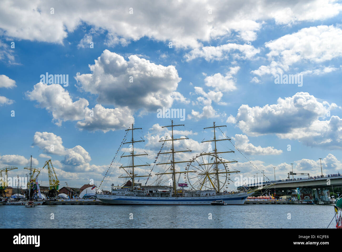 Szczecin, Poland, 7 august 2017: Ship at the quay during the finale of The Tall Ships Races 2017 in Szczecin. - Stock Image