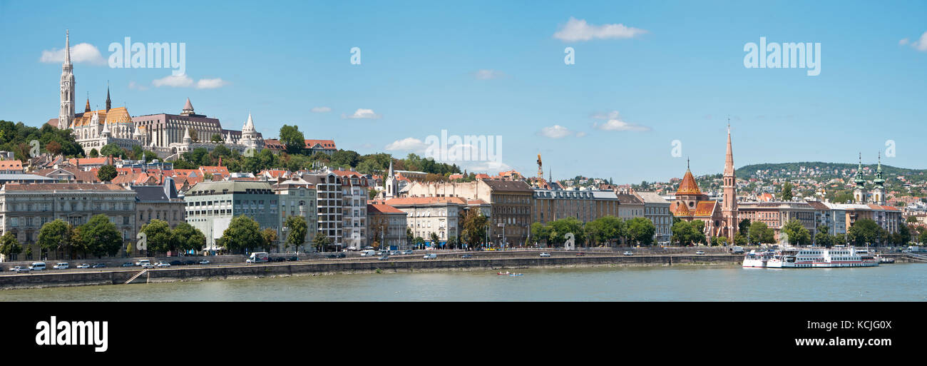 A 3 picture stitch panoramic view of the Buda side of Budapest with The Fisherman's Bastion and Matthias church - Stock Image