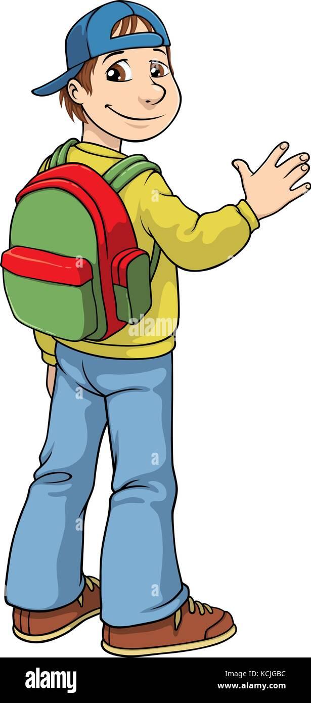 Vector cartoon of a school boy with a school bag on his back and a baseball cap worn backwards - Stock Vector