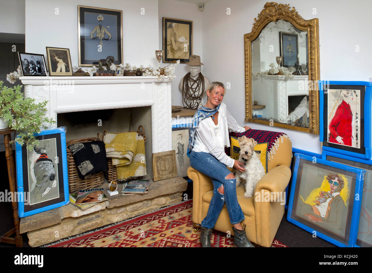 Connie Gray, fine art collector and dealer in antique fashion art. - Stock Image