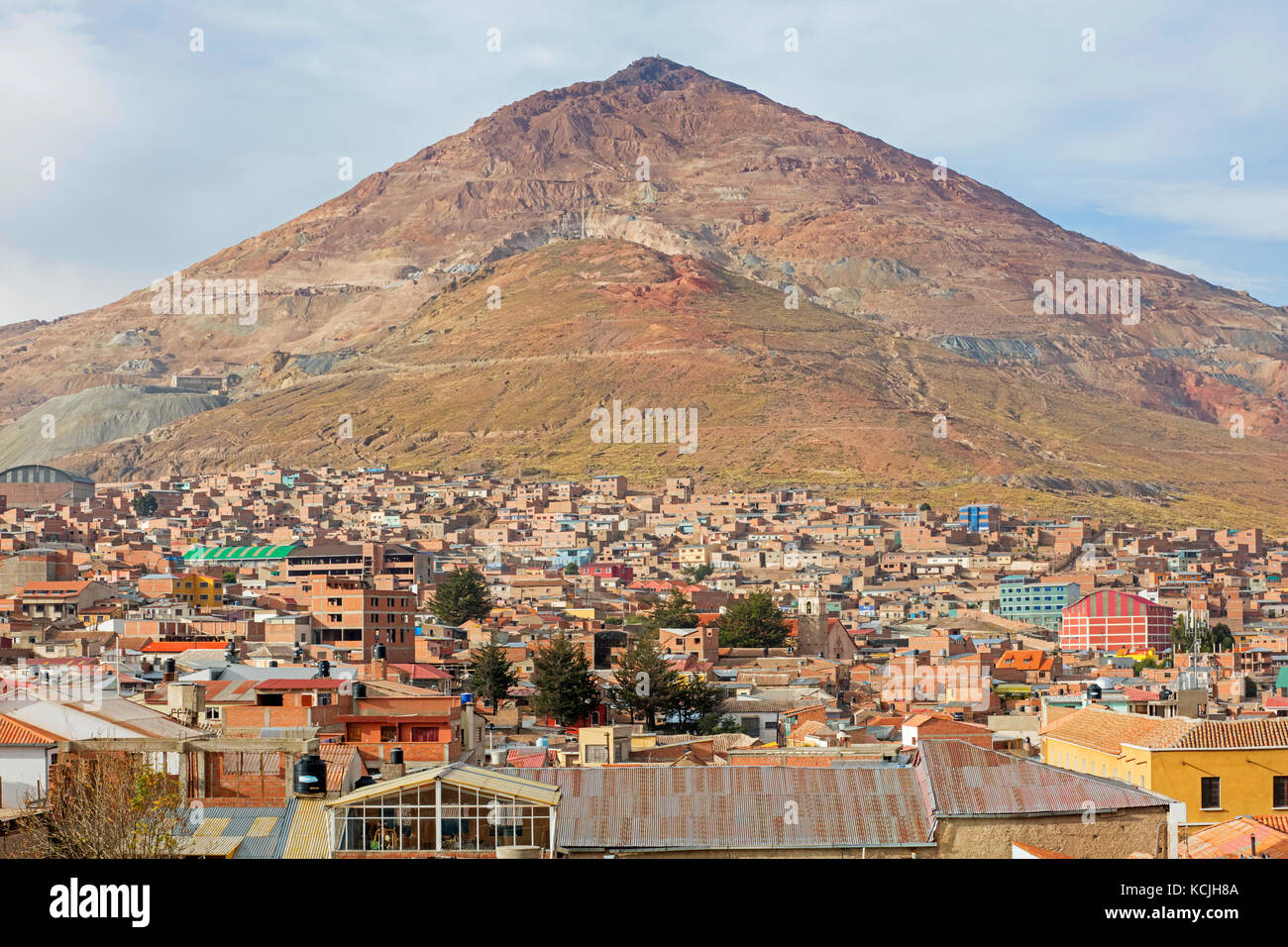 Aerial view over the city Potosi and the Cerro Rico silver mine, Tomás Frías, Bolivia - Stock Image