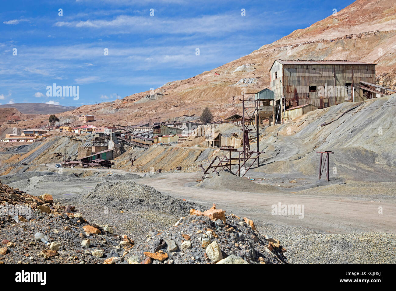 Mining buildings of silver mine on the Cerro Rico de Potosi, Tomás Frías, Bolivia - Stock Image