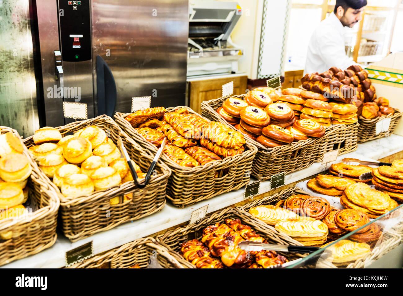 Danish pastries, Bakers display, bakery display, Danishes, Danish pastry, pork pies, patisserie, patisserie display, - Stock Image