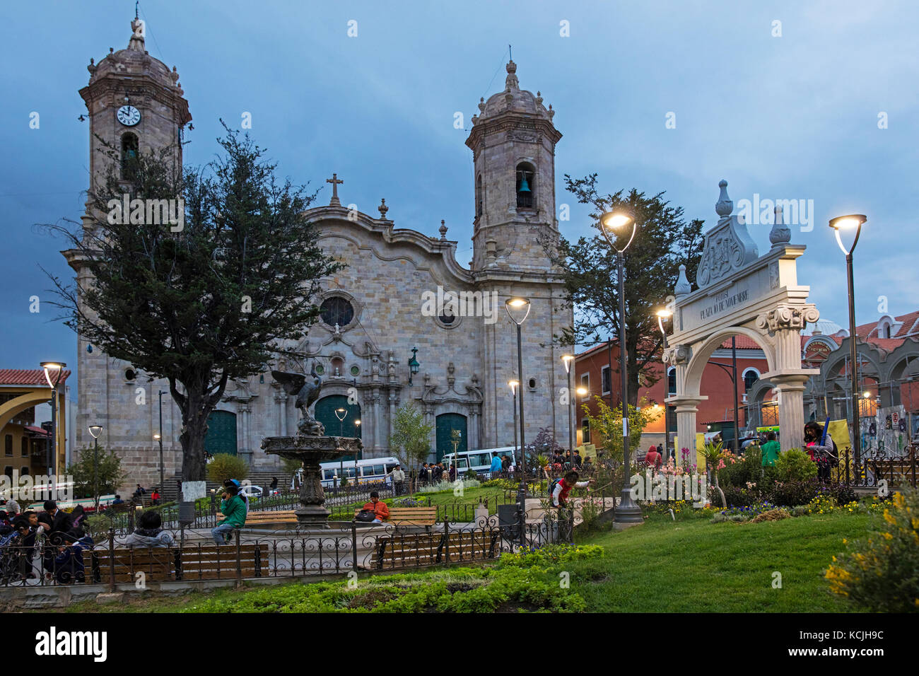 Cathedral Basilica of Our Lady of Peace in Neoclassical style at the plaza 10 de Noviembre at dusk in the city Potosi, - Stock Image