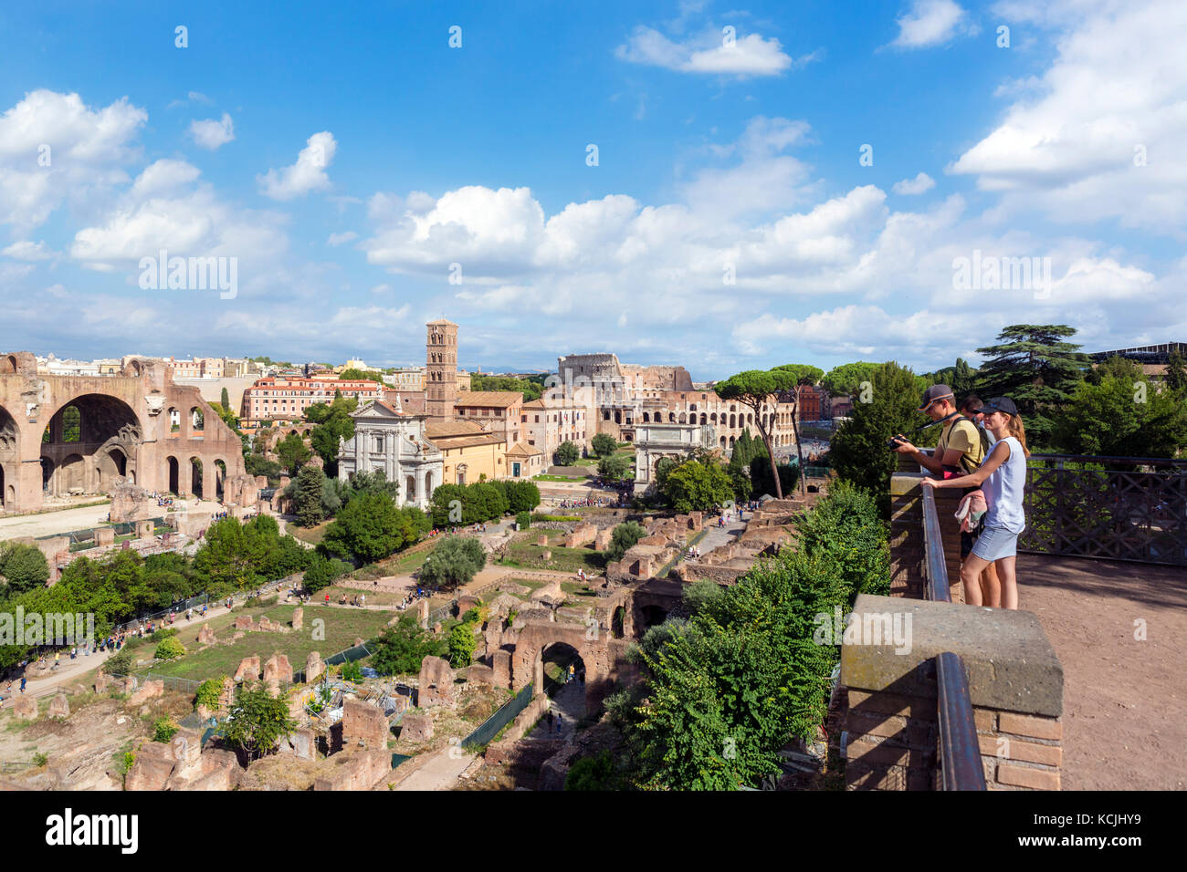 Rome Forum. View from the Palatine Hill over the ancient ruins of the Roman Forum, Rome, Italy - Stock Image